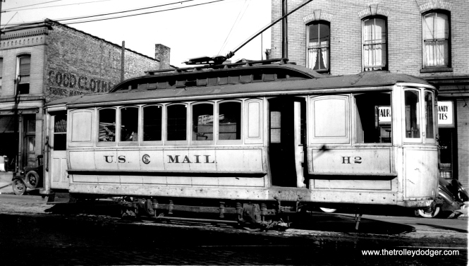 Except for a ceremonial event in 1946, the era of Chicago streetcar RPOs ended on November 21, 1915, less than two years into the CSL era. This photo was taken on October 14, 1938 by Edward Frank Jr., who described the car's colors as tannish yellow gold with gold letters and trimmings. The location is the Lincoln Avenue car barn (aka