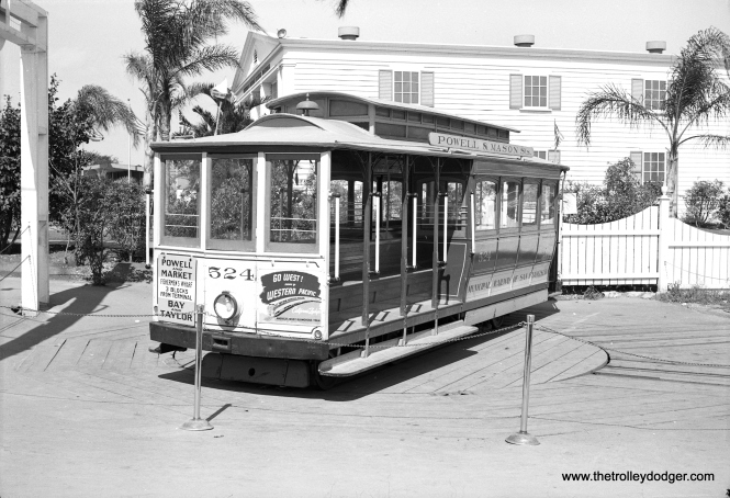 San Francisco Municipal Railway #524 in Chicago on August 28, 1948 at the Chicago Railroad Fair. This was the actual last cable car to operate in Chicago, and was done under the sponsorship of the Western Pacific Railroad. #524 has been renumbered #24 and is still in service in San Francisco after being extensively rebuilt by Muni in 1958. On September 2, 1956, car No. 524 also made the last trip on the Washington-Jackson line as the SF cable car network was consolidated.
