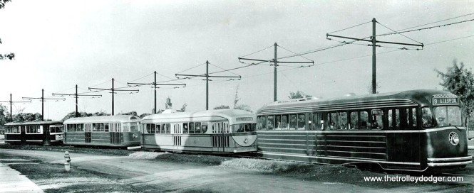A unique lineup at the 1934 American Transit Association convention in Cleveland. From left, we have the PCC Model A; CSL 4001; CSL 7001, and the PCC Model B. (Krambles-Peterson Archive)