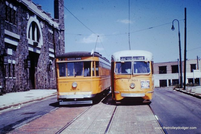 "A modern Baltimore ""Peter Witt"" streetcar, built by Brill in 1930, alongside a PCC, made in 1936 by St. Louis Car Company."