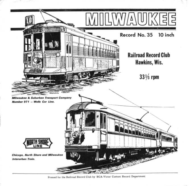 Railroad Record Club LP #35 features Hi-fi audio recordings of Milwaukee streetcars in the 1950s. We have digitized this and many other recordings, which you can find in our Online Store.