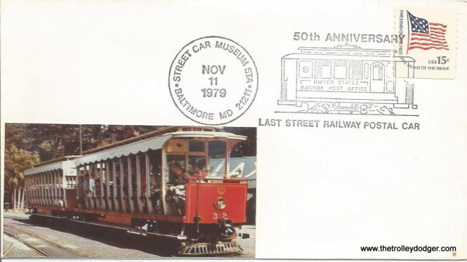 This commemorative mailing gives November 11, 1929 as the last day of streetcar RPO service in the United States (not counting interurbans).