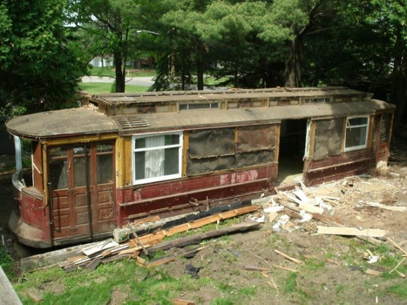 As construction crews removed more walls of the old home, more of the building's substructure - built on an old trolley car cabin - could be seen. Credit: Sharon Krapil