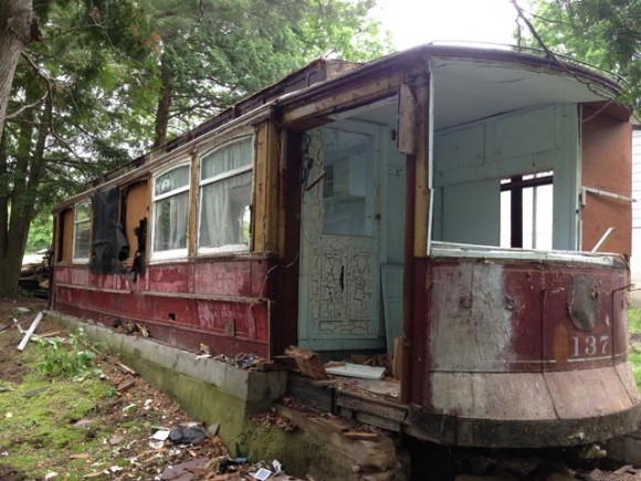 The rear of the trolley car was converted into a kitchen, closet and back porch. Here, the back door can be seen in the center of the photo. Credit: WLUK/Bill Miston