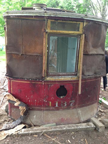 The front of the trolley car is boarded up, as it was turned into a small bathroom, complete with a bathtub and toilet. Credit: WLUK/Bill Miston