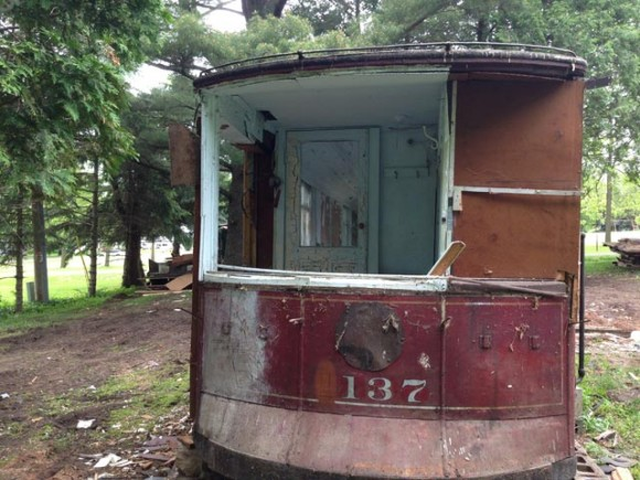 The rear of the trolley car was converted into a kitchen, closet and back porch. Here, the back door can be seen on the left of the photo. Credit: WLUK/Bill Miston