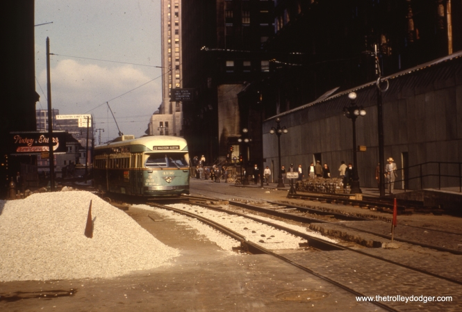 #36 - Dan Cluley identifies this as Madison looking west at Wacker, during construction of Lower Wacker Drive.
