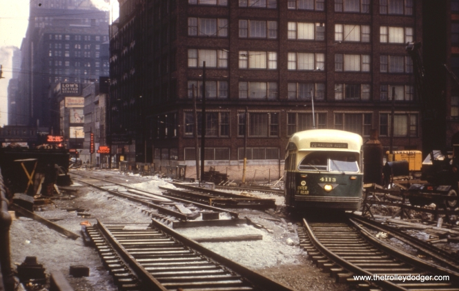 #38 - Dan Cluley identifies this as Madison looking east at Wacker, during construction of Lower Wacker Drive.