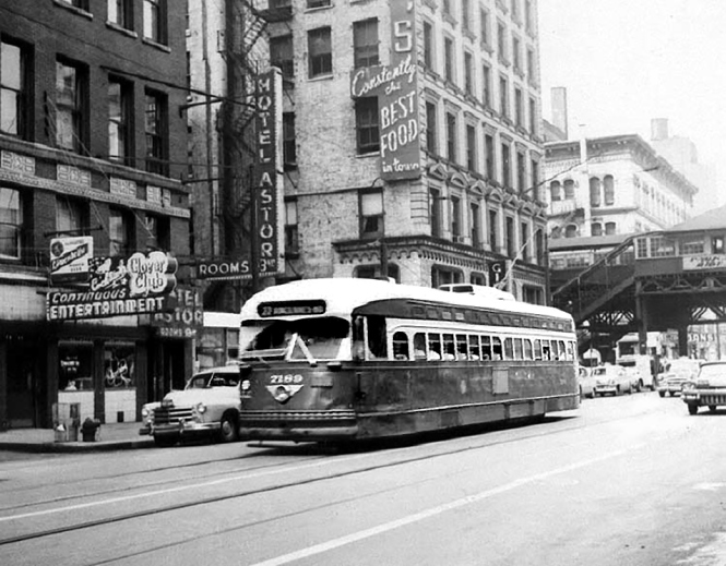 Car 7189 passes the then illustrious Astor Hotel on Clark which had more of an hourly reputation than nightly! © Laurence Mack