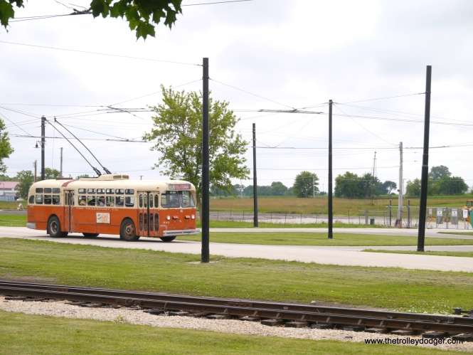 The Milwaukee trolley coach prepares to loop.