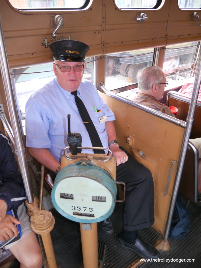 The conductor's station on Chicago PCC 4391.
