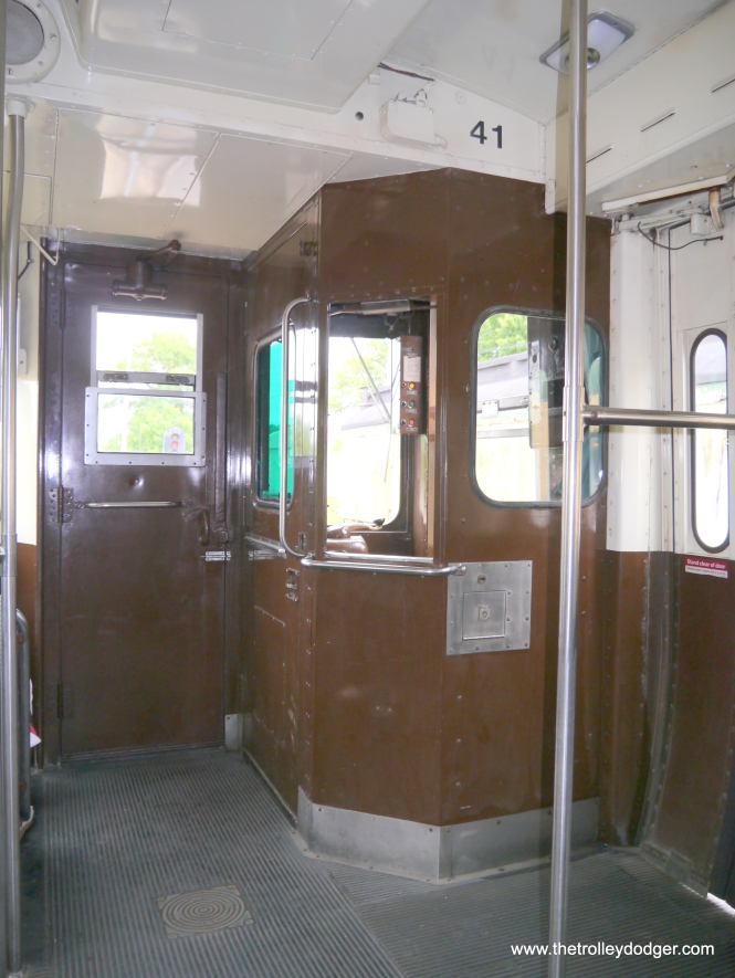 Operator's station on car 41. When fares were collected on board the train in Evanston, there would have been a farebox installed here.