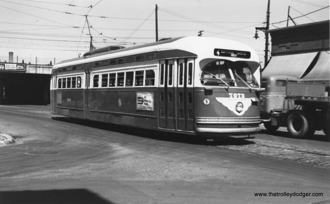 CTA 7073 eastbound at 115th and Cottage Grove on June 6, 1952. (Thomas H. Desnoyers Photo)