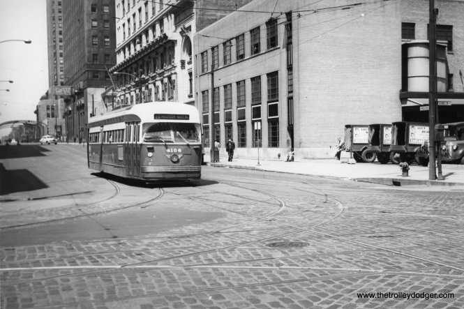CTA 4106 at Madison and Franklin on October 1, 1949.