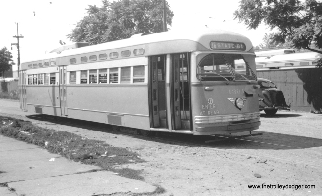 CTA 4363 on Schreiber at Paulina in July, 1948. (M. D. McCarter Collection)