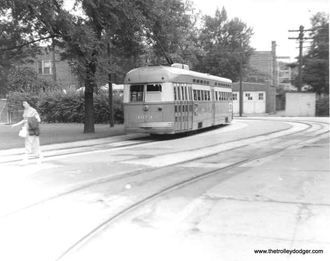 CTA 4073 at the Madison and Austin loop in July 1951.