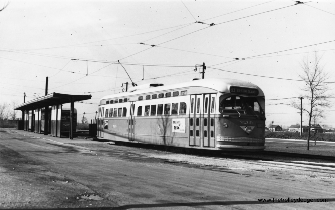 Postwar CTA 7269 at 63rd Place and Narragansett on November 23, 1952. (Thomas H. Desnoyers Photo)