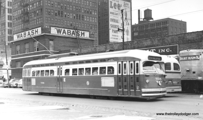 CTA 7225 on Clark at Polk on August 26, 1954. (Harold A. Smith Photo)