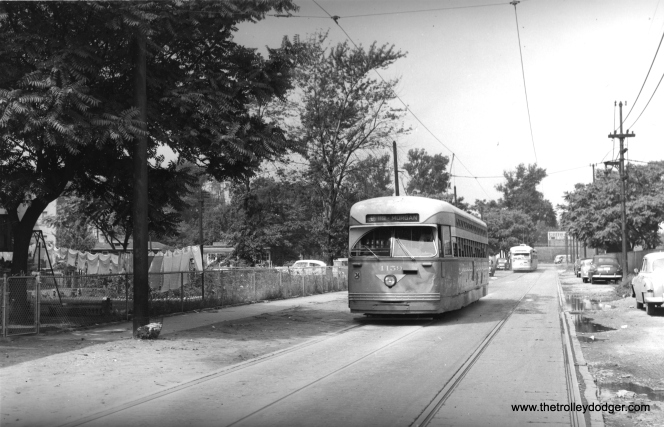 CTA 4159 on Schreiber near Clark on August 1, 1953.