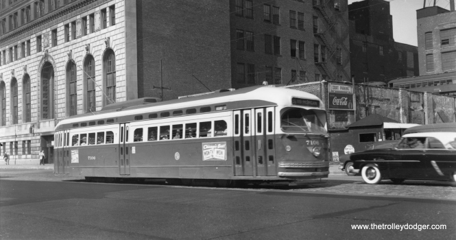CTA 7106 at State and Roosevelt on August 6, 1954. (Harold A. Smith Photo)