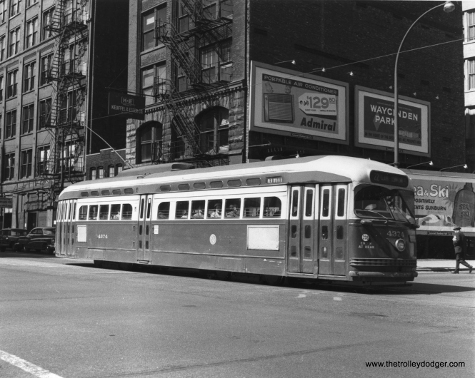 CTA 4374 on Dearborn at Congress on June 10, 1958. (Thomas H. Desnoyers Photo)
