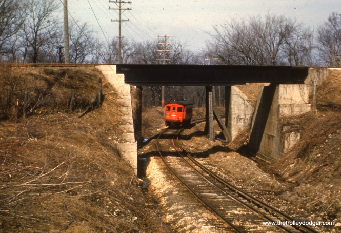 #59 - JN: Crossing under CB&Q on Batavia branch. EM: CAE 460 (St. Louis, 1945) on the Batavia branch somewhere in the middle of nowhere.