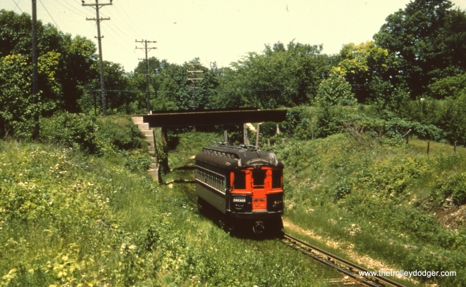 #65 - JN: Crossing under CB&Q on Batavia branch EM: CAE 428 (Cincinnati, 1927) on the Batavia branch. Notice how the grass is grown up in the track bed. This must be near the end when Batavia service was minimal and sometimes served by bus.