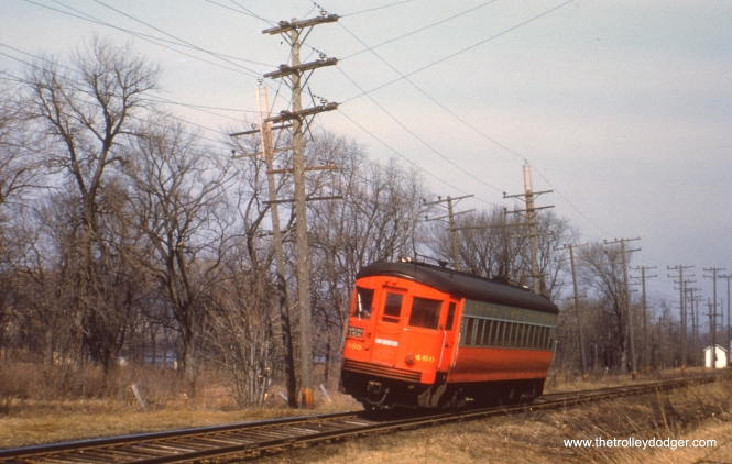 #90 - JN: Eastbound train departing Glenwood Park and heading towards CB&Q underpass. EM: CAE 460 (St. Louis, 1945) travels along the Fox River near Batavia, headed for Chicago. Notice that it is running with third rail power.