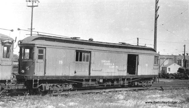 #3 - CA&E freight motor 15 at Wheaton on February 1, 1954. (Arthur B. Johnson Photo)