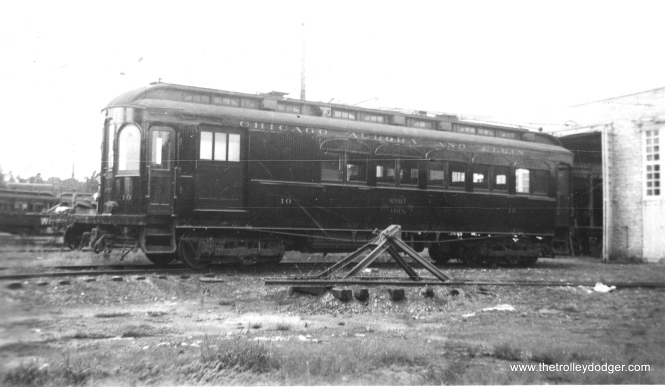 "#7 - CA&E 10. According to Don's Rail Photos, ""10 was built by Niles Car in 1902. It was rebuilt with a baggage compartment in 1910. It was later removed, but then reinstalled in April 1933 for funeral service. It was wrecked September 10, 1948, and scrapped."" (James B. M. Johnson Photo)"