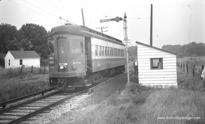 #20 - CA&E 406 at State Road on the Batavia branch in 1954.