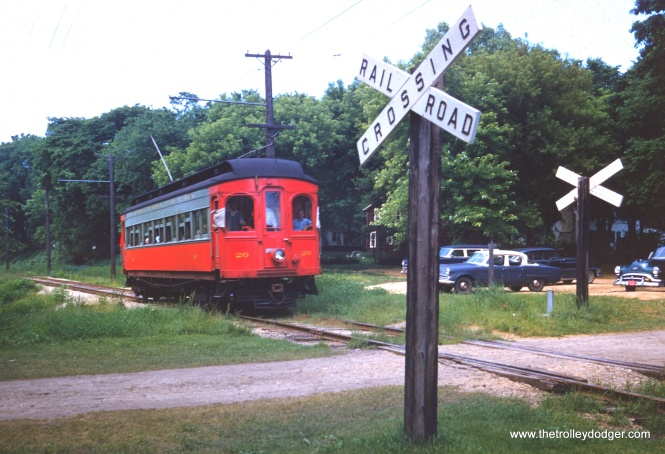 In a previous post, our readers identified the location of this June 9, 1957 fantrip photo as being on the CA&E Batavia branch, between the power house and the Batavia terminal. This was one of but two sections on this branch that used overhead wire. (William Barber Collection)