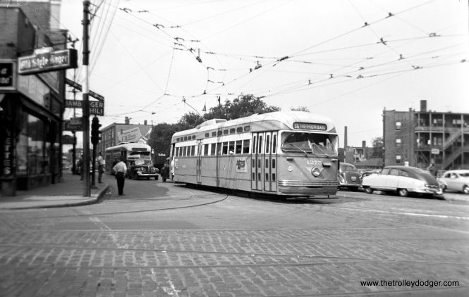 "Jeff Wien writes, ""CTA 4275 at Clark and Devon turning east onto Devon on route 36: Broadway-State."""