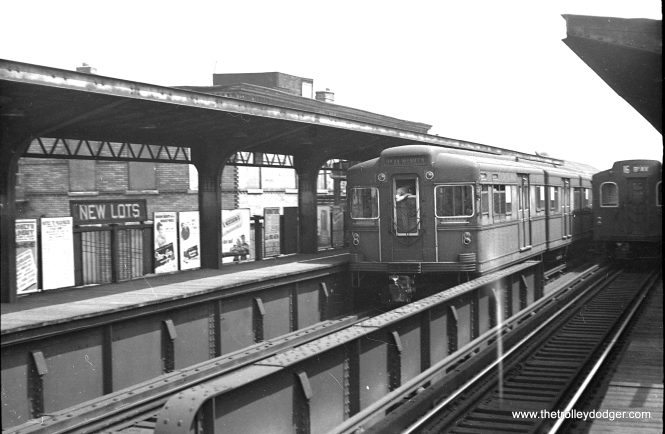 "A New York ""Bluebird"" articulated compartment car in service in 1949."