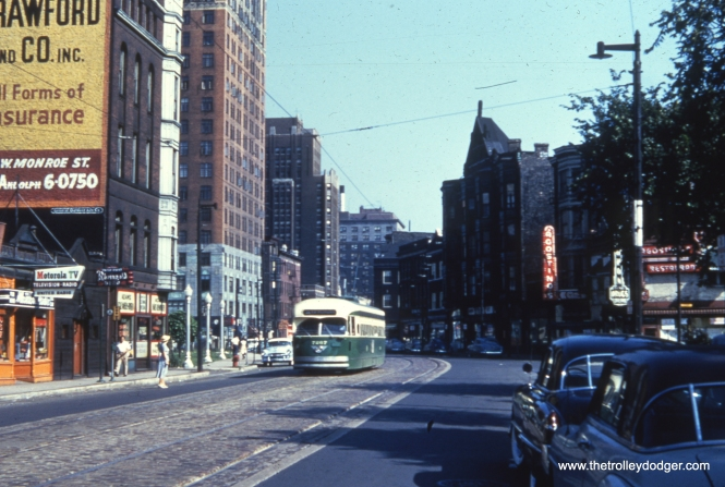 CTA 7267 heads southbound on route 36 in August 1954. The location is around 1100 N. State Street, and we are looking north.