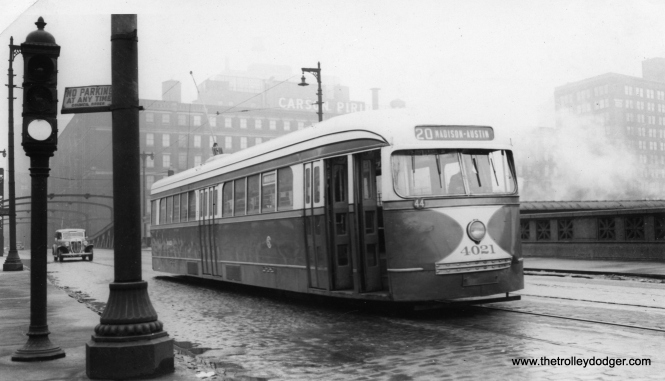 CSL 4021 at Madison and Canal in the 1940s. The only prewar Chicago PCC that survives, this car is now preserved at the Illinois Railway Museum. (B. H. Nichols Photo)