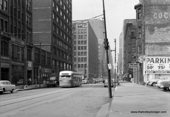 CTA 4035 heads south at Clark and Harrison on route 22 in the mid-1950s.