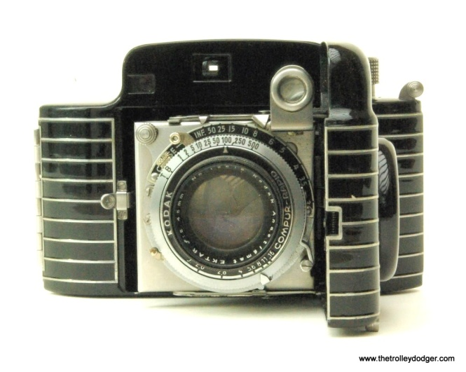 This streamlined Bakelite Kodak Bantam camera, which used size 828 film, was the state of the art in 1938 but few railfans could afford to buy one.