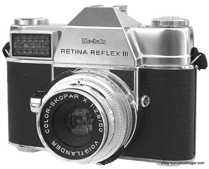For many years, Ray DeGroote took pictures with a German circa-1965 Kodak Retina Reflex III like this one. The gridlike patch at top left is a chemical-based light meter.