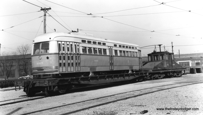 Postwar Chicago PCC 4065 being delivered to South Shops by CSL locomotive S-202 in late 1946.