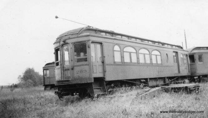 Elgin Belvidere & Rockford car 203 was built by St. Louis Car Company in 1906. It was 31 years old when this photo was taken in 1937 in Marengo. A portion of the Elgin & Belvidere interurban right-of-way now serves as the main line for the Illinois Railway Museum in Union. An original Elgin & Belvidere motorman lived long enough to operate a car over the new right of way when the museum began operations here in the 1960s.