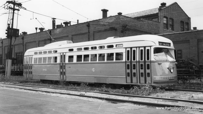 CSL 4062, the first postwar Chicago PCC, shown at South Shops shortly after delivery from Pullman, probably in September 1946. It is signed for Clark-Wentworth, the first route where the new cars were assigned.