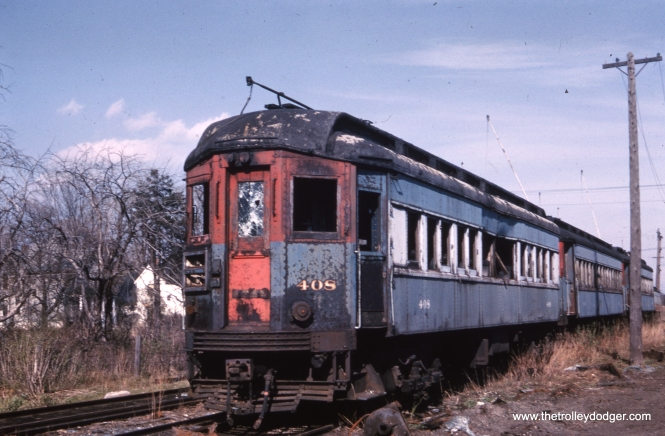 Chicago, Aurora & Elgin car 408 is in pretty sad shape in this photo taken just prior to its scrapping in 1962. It was a sister car to 409, which was sold to Trolleyville USA and came to the Illinois Railway Museum in 2009. We can be fortunate that there were enterprising railfan photographers who documented the last days of the