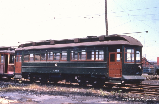 CTA work car AA101 at South Shops on June 14, 1955. According to Frank Hicks, this car was probably CSL 2849. It was originally built by South Chicago City Railway in 1907 and was a sister car to 2846, which is preserved at the Illinois Railway Museum.