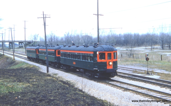 "CNS&M 159, 169, and 175 heading southbound from Milwaukee at the Racine Quarry siding on April 19, 1959. Fans today sometimes refer to these as ""Greenliners."""