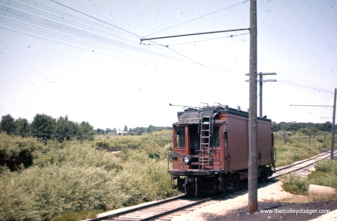 CNS&M line car 606 at Kelly Siding on July 14, 1959. The colors on this slide have been digitally restored, after having been shifted to red. The original slide must have been one of the early Ektachromes or Agfachromes that turned out not to have stable dyes.