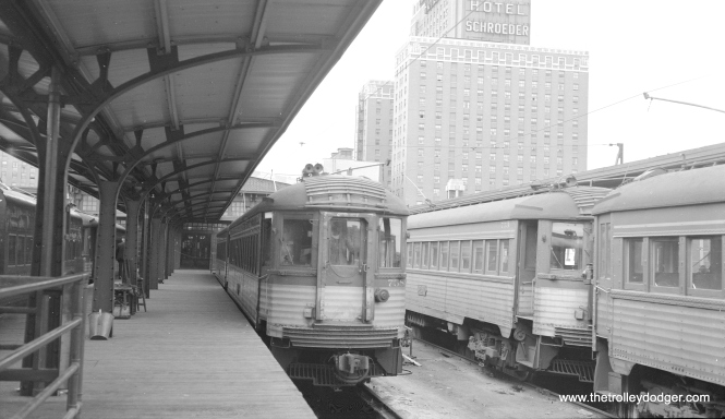 Silverliner 758 at the CNS&M terminal at 6th and Michigan in Milwaukee, circa 1960. (Richard H. Young Photo)