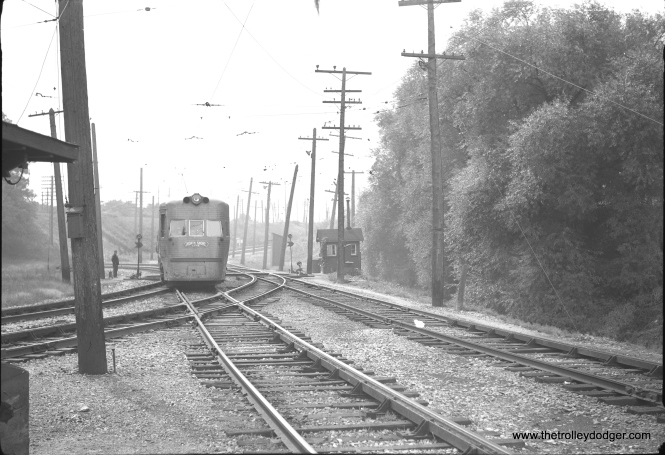 One of the two Electroliners at North Chicago Junction nortbound approaching Junction station. This picture was taken no later than 1955, as the Shore Line route via Sheridan Road to Waukegan is still present.