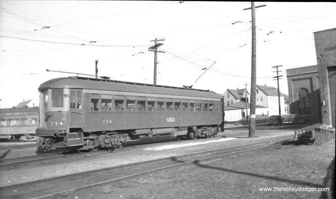 Car 714 at the Harrison shops in Milwaukee in January 1950. This car, built by Cincinnati Car Company in 1926, operates now at the Illinois Railway Museum. (Charles K. Willhoft Photo)