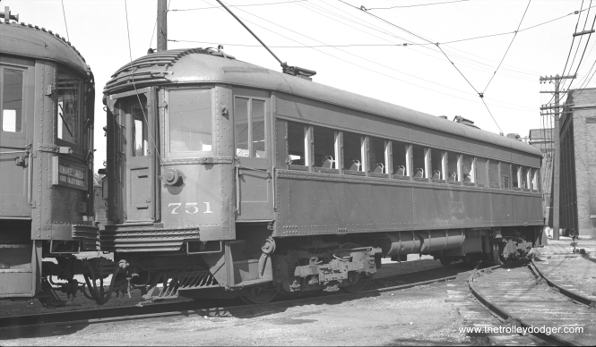 Cars 751 and 775 at Harrison shops on May 21, 1952. (Charles K. Willhoft Photo)